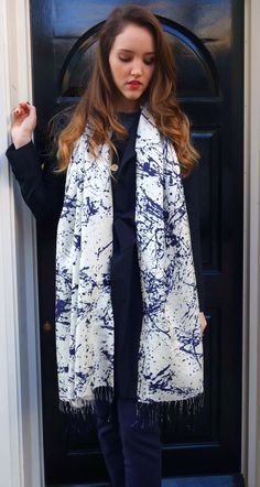Digital print splash silk scarf by Rosasha on Etsy, $79.85