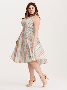 Plus Size Torrid Insider Mixed Border Print V-Hem Dress, DULCE PRINT