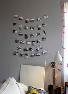 Use string and clothespins to hang up treasured photos.