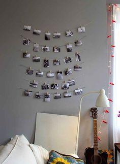 Use string and clothespins to hang up treasured photos.
