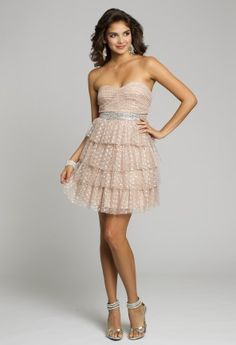 Homecoming Dresses - Mesh Strapless Short Dress with Tiered Skirt from Camille La Vie and Group USA