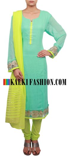 Buy Online from the link below. We ship worldwide (Free Shipping over US$100) http://www.kalkifashion.com/straight-fit-suit-featuring-in-turq-is-embellished-in-gotta-patti-lace-only-on-kalki.html