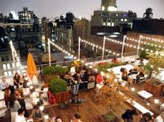 Nothing better than a rooftop party Rooftop Party, Rooftop Lounge, Rooftop Restaurant, Rooftop Wedding, Rooftop Garden, Rooftop Terrace, Restaurant Design, Wedding Reception, Rooftop Design
