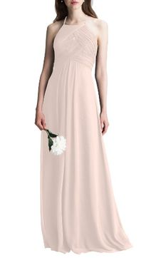 Free shipping and returns on #Levkoff Halter Chiffon A-Line Gown at Nordstrom.com. This dreamy chiffon gown is incredibly flattering from all angles thanks to its halter neckline, cutout back and floor-sweeping A-line skirt.