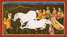 Le sacrifice de cheval, (Chant I, chapitre XIV.) Rajasthan, école du Mewar, Udaipur, daté 1712. Gouache et or sur papier. The British Library, Londres. http://www.ramayanabook.com/