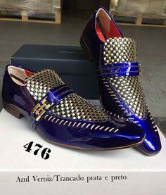 0cd45a0e9c Azul verniz trancado prata preto 476. ITA Comfort · Sapatos masculinos ...
