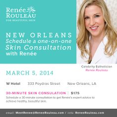 Renée is coming to #NOLA this week! #skincare #consultations #reneerouleau