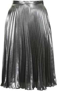 Metallic midi skirt with pleated detail.