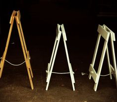 Folding trestle legs.  White table legs and wooden legs.  Bench height or table height.