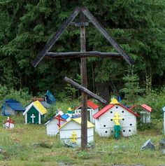 A combination of Russian Orthodox tradition and Native American practices, the graveyard outside of the St. Nicholas Orthodox Church in Eklutna, Alaska, is filled with more than 100 colorful burial sites. These fantastic spirit houses, each about the size of a large dollhouse, are considered a part of the Eklutna Historical Park.    Burial Spirit Houses