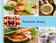 Homemade Recipes  Are you a foodie? If you like cooking food as much as eating it, this book design is for you. Compile your recipes and let snaps of your finished product stand out on a neat-looking book with background colors of black, white, and beige.