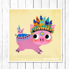 Tribal Pig Print Cute Piggy Pig Nursery Wall Art by CherimoyaArt
