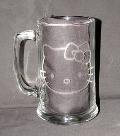 $13 Hello Kitty Face Logo Hand Etched on 15 ounce Beer Mug. Only found on our webstore