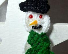 Items similar to Snowman Ornament, Repurposed Jenga Block, Rustic Snowman, Christmas Tree Ornament, Wood Block Snowman, Holiday Ornament, Snowman, Christmas on Etsy