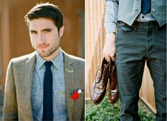 Well-Groomed Groom: Testament to Turquoise - A #groom creates a Southwest look with finds from Banana, J.Crew, and Urban Outfitters. #wedding #rings #boutonnieres
