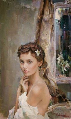"""Michael & Inessa Garmash, """"Ready to Blossom"""". The title kind of creeps me out, even though I'm sure it shouldn't, but the painting and girl are beautiful. She looks Russian to me--but I'm by no means an expert. by karin deidre naude Woman Painting, Figure Painting, Painting & Drawing, L'art Du Portrait, Female Portrait, Beautiful Paintings, Figurative Art, Love Art, Female Art"""