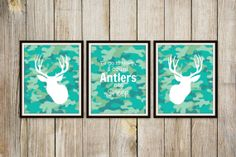 For the nursery - make out of frames and camo fabric or scrapbook paper...