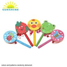 1 Pc Hand Shaking Drum Kids Toys Cute Cartoon Wooden Hand Shaking Drum Rattle Sound Toy Musical Instrument for Baby Child(China (Mainland))