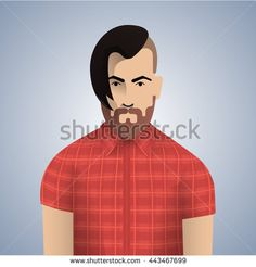 Cool handsome man with hipster hair and hipster beard. Hipster man vector character. Style handsome hipster man and hipster man vintage stylish face. Modern style hipster beard . - stock vector