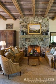 Mountain House | William T. Baker | living room, Stone fireplace, wood ceiling