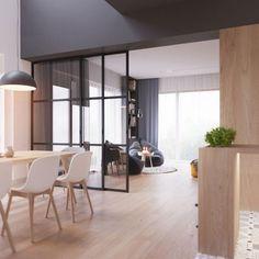 cuisine-verriere-décoration-intérieur-aménagement-cuisine-ouverte-salle-a-manger-lampe-suspendue-pouf-gris-tapis-moelleux-blanc