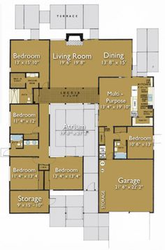 Ranch Style House Plan - 5 Beds 3 Baths 2733 Sq/Ft Plan #470-6 Floor Plan - Main Floor Plan - Houseplans.com