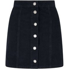 Miss Selfridge Navy Button Corduroy Skirt ($60) ❤ liked on Polyvore featuring skirts, navy, blue corduroy skirt, navy corduroy skirt, navy knee length skirt, blue skirt and corduroy skirt