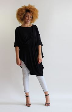 Oversized layering top in striped fabric. Drapes from the bust creating a waterfall effect. Luxe Clothing, Layered Tops, Fashion Labels, Roxy, Layering, Waterfall, Tunic Tops, My Style, Fabric