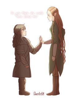 Kili and Tauriel :D <-- I ship them so hard. Not a good thing as my favorite characters tend to die...