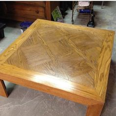 The before....Amish made oak coffee table