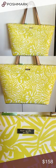 "❗️final price ❗️NWT Kate Spade tote handbag Kate Spade Grant Street Grainy Vinyl Palm Beach Tote, btcbnpalm (lime green) Brand New with Tags! This is a Brand NEW WITH TAG AUTHENTIC KATE SPADE -JULES Details: grant street Grainy Vinyl zip  top closure light gold plated hardware interior slip pockets & zip pocket custom Signature kate spade lining protective leather pads on base of bag kate spade new york signature metal staple plate  Color: btcbnpalm Measures approximately H 11.5"" top width…"