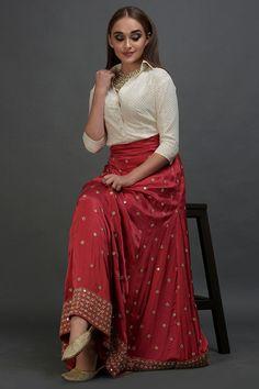 Royal Red Mirror Work and Zardozi Skirt With Mukaish Blouse Lehenga Skirt, Lehnga Dress, Lehenga Blouse, Sari, Lehenga Choli, Indian Wedding Guest Dress, Cheap Wedding Dress, Wedding Wear, Indian Skirt
