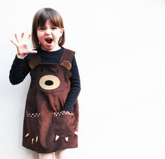 Teddy Bear Girls Play Dress by Wild Things Funky Little Dresses, the perfect gift for Explore more unique gifts in our curated marketplace. Little Girl Dresses, Little Girls, Girls Dresses, Brown Teddy Bear, Brown Bears, Bear Girl, Everyday Dresses, Play Dress, Kind Mode