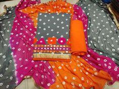 Jaipuri cotton top with daman work, Cotton bottom, bandini dupatta.