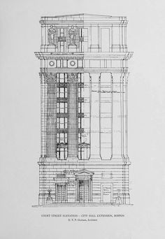 Elevation of the City Hall Extension, Boston