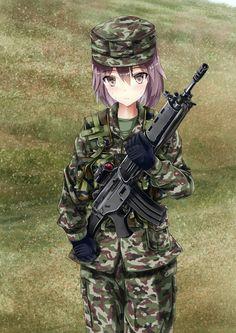 1girl assault_rifle brown_eyes camouflage gun howa_type_89 inoshira load_bearing_vest looking_at_viewer original purple_hair rifle solo sweatdrop weapon
