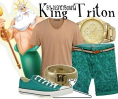 King Triton - teal, nude, and gold