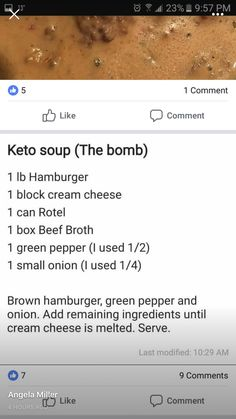 cheeseburger soup simple / easy Keto recipe (use less broth, add cheese, more onion) Atkins, Ketogenic Recipes, Low Carb Recipes, Diet Recipes, Recipes Dinner, Ground Beef Keto Recipes, Healthy Recipes, Soup Recipes, Easy Recipes