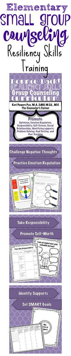 Bounce Back! Elementary Small Group Counseling: Resiliency Skills Training from The Counselor's Corner