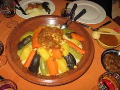 A dinner of tagine with lamb and vegetables