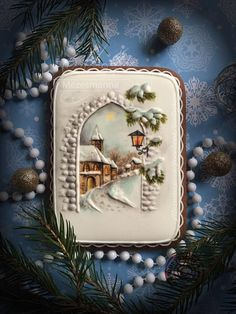 Cookie by Mézesmanna. More speechless awe over here. Christmas Goodies, Christmas Desserts, Christmas Baking, Christmas Decorations, Christmas Sugar Cookies, Holiday Cookies, Gingerbread Cookies, Cupcakes, Cupcake Cookies