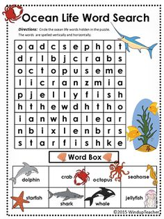 Ocean Animals Word Search * EASY from Windup Teacher on TeachersNotebook.com -  (3 pages)  - Ocean Animal Word Search Easy