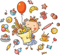 Buy Happy Girl with Sweets by katya_dav on GraphicRiver. Happy girl with lots of sweets, cookies and candies has her birthday Drawing For Kids, Art For Kids, Vintage Banner, Play Day, Cute Family, Zentangle Patterns, Happy Kids, Colouring Pages, Toddler Crafts