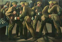 The Arrival of a Leave Train, Victoria Station, 1918 by Bernard Meninsky    Date painted: 1919