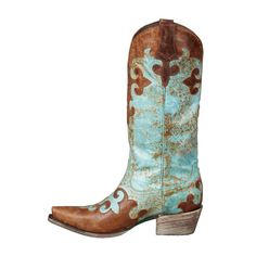 Lane Boots takes a modern, fashion forward approach to the traditional western style with the Dawson Women's Cowboy Boot. Distressed turquoise and brown leather