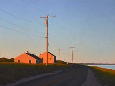 by Jim Holland Film Photography, Landscape Photography, Gig Poster, Guache, Pics Art, Nocturne, Small Towns, Aesthetic Pictures, Landscape Paintings