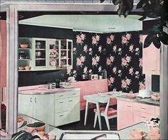 Retro pink kitchen. Visit: http://cdiannezweig.blogspot.com/