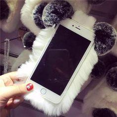 Super Cute PANDA Real Rex Rabbit Fur iPhone Case For Iphone 7 6 6S Plus