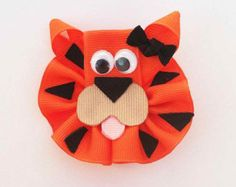 Tiger Hair Clip, Zoo Animal Hair Clip, Orange Tiger Hair Bow, Toddler Hair Clip, Girls Hair Accessories, Safari Hair Clip, Bows for Girls