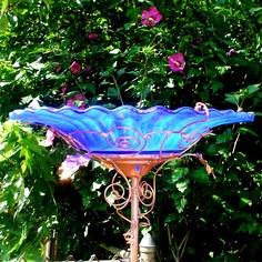Cobalt Blue Birdbath, stained glass, copper art, garden decor,  via Etsy.